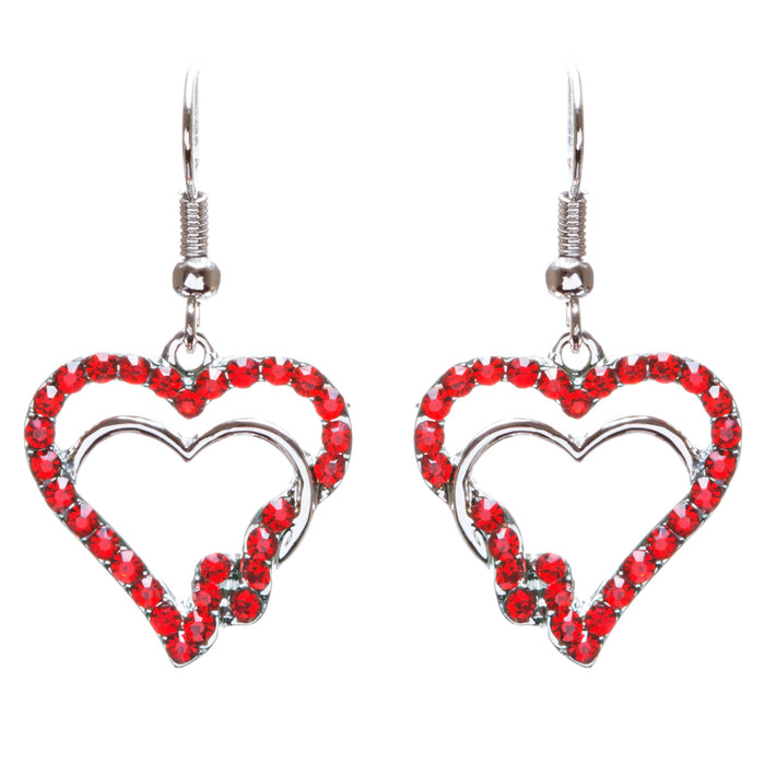 Valentines Jewelry Beautiful Crystal Rhinestone Hearts Earrings E907 Red