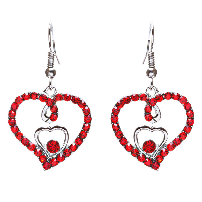 Adorable Valentine Theme Fashion Crystal Rhinestone Heart Earrings E908 Red