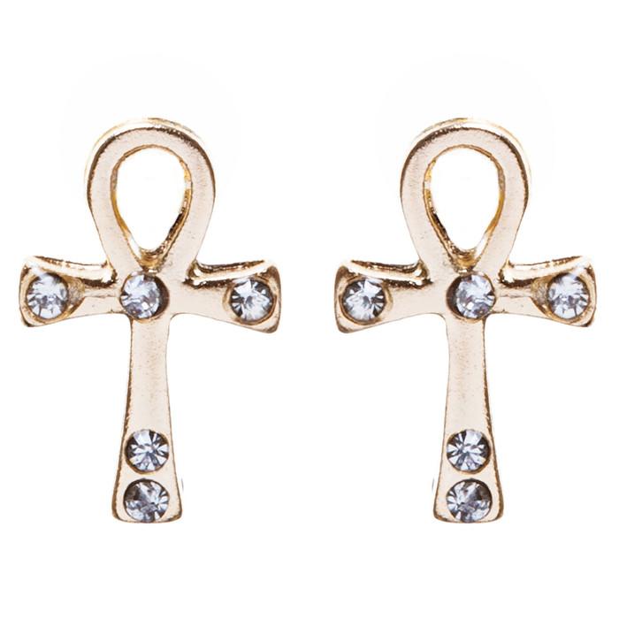 Cross Jewelry Crystal Rhinestone Lovely Cross Charm Stud Earrings E910 Gold