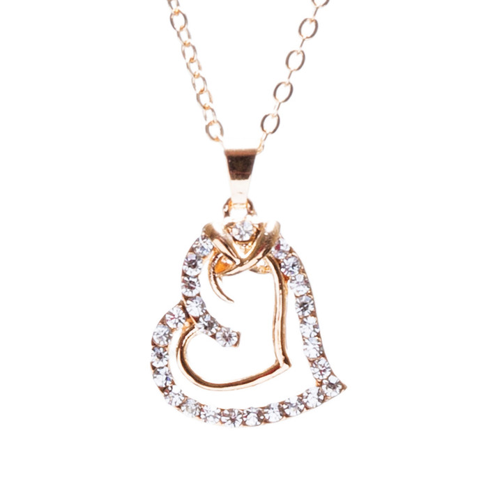 Valentines Jewelry Crystal Rhinestone Sparkling Hearts Necklace N92 Gold