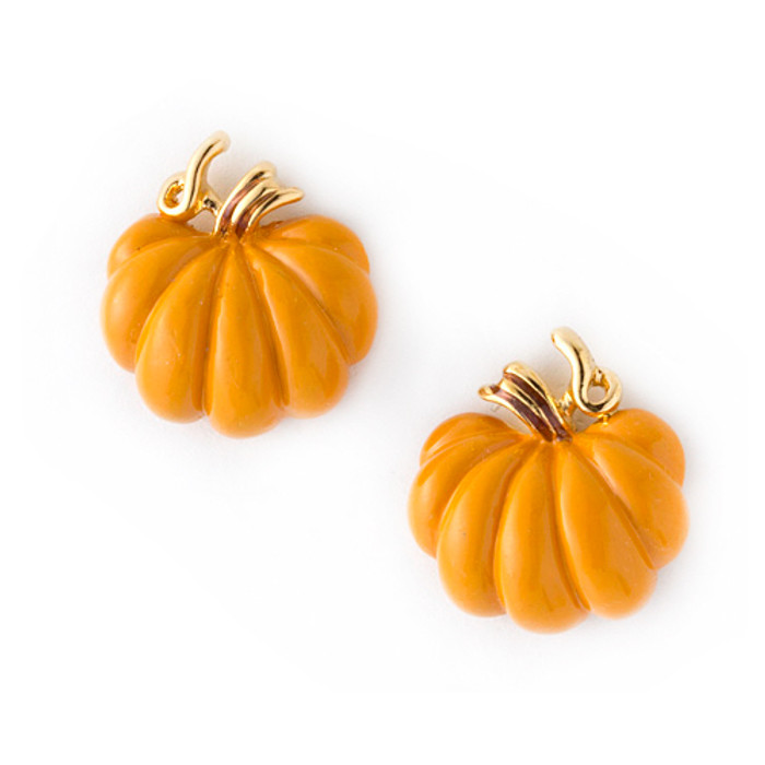 Halloween Costume Jewelry Pumpkin Stud Charm Enamel Earrings Orange Gold