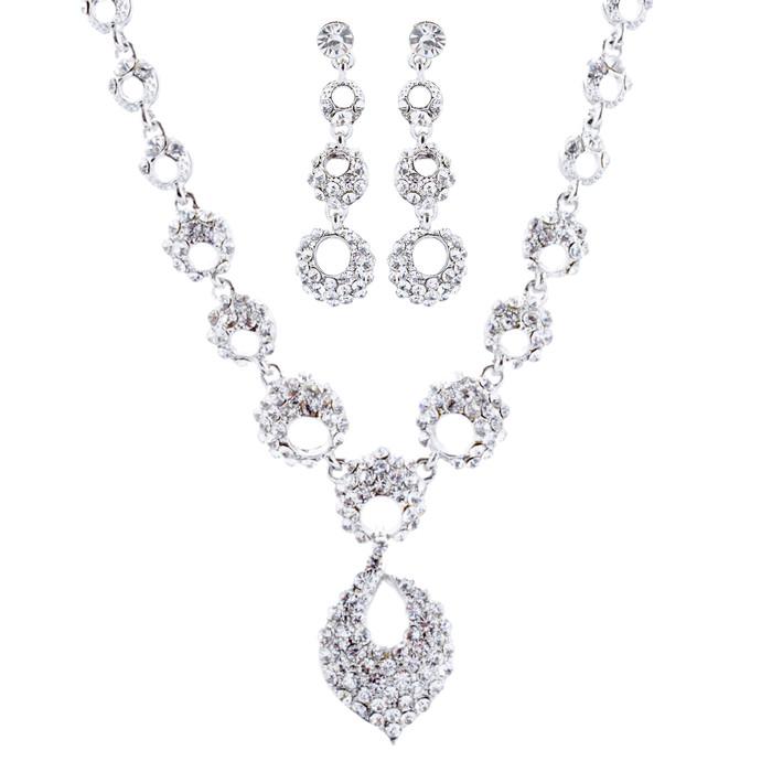 Bridal Wedding Jewelry Crystal Rhinestone Classic Necklace Set J714 Silver