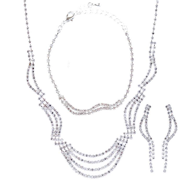 Bridal Wedding Jewelry Crystal Rhinestone Necklace Earrings Bracelet Set J717 SV