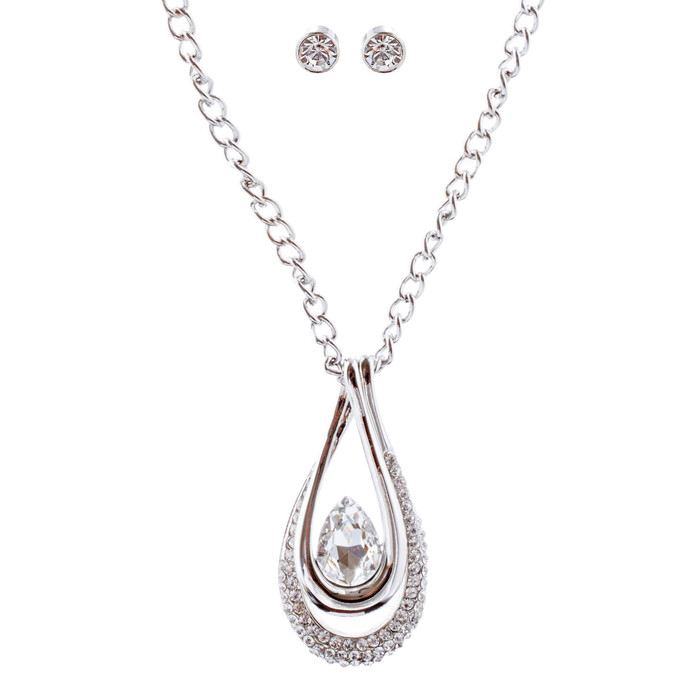 Beautiful Crystal Rhinestone Pendant Necklace Earrings Set JN279 Silver