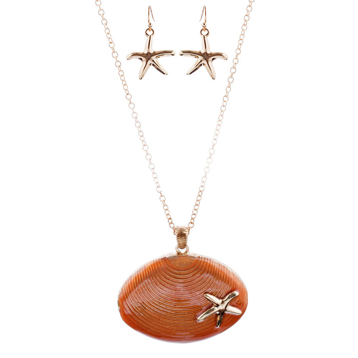 Fun Ocean Inspired Sea Star Shell Pendant Necklace Earrings Set JN280 Orange