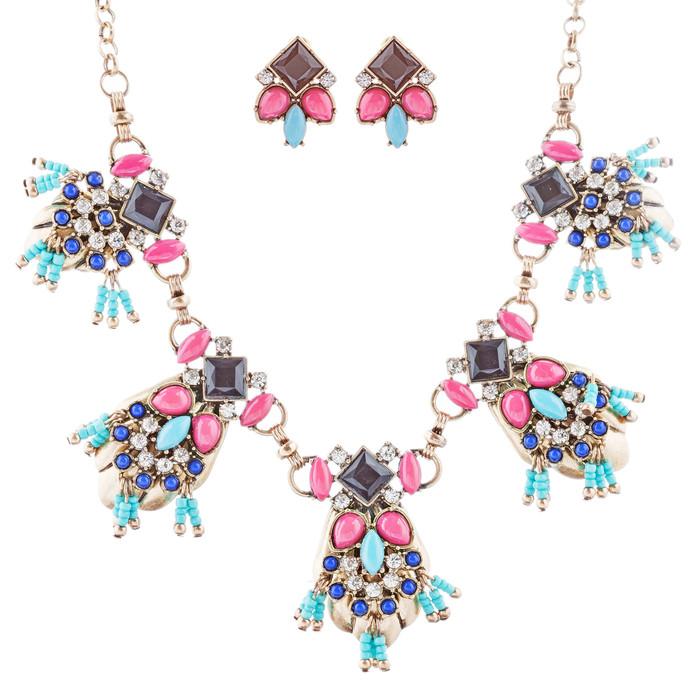 Striking Design Crystal Rhinestone Beads Statement Necklace Set JN285 Multi