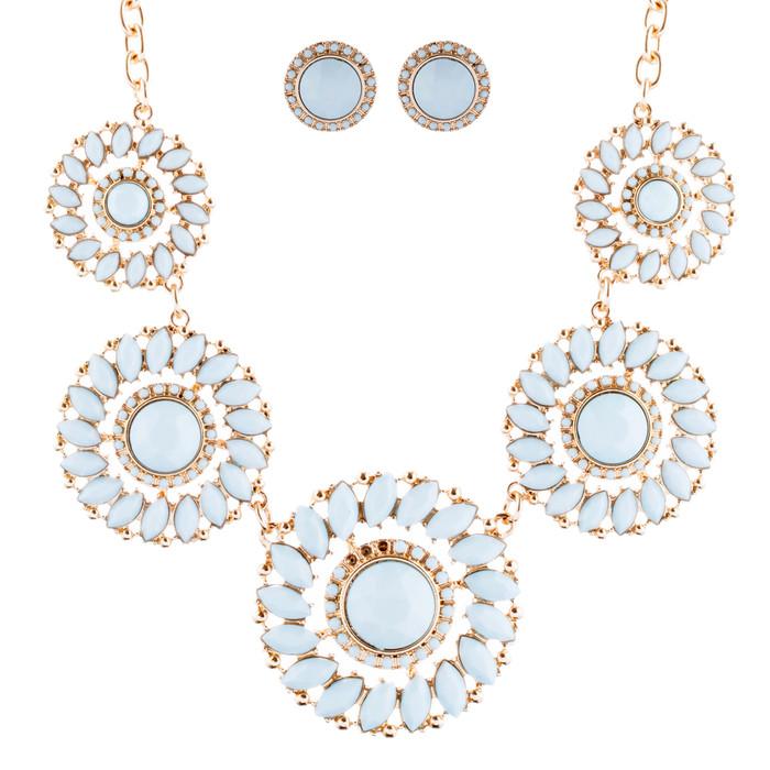 Glamorous Sparkle Bold Fashion Statement Necklace Earrings Set JN290 Gold Mint