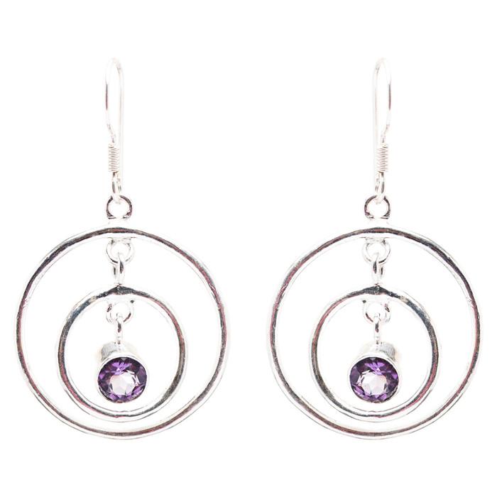 925 Sterling Silver Gemstones Natural Amethyst Dangle Earrings FJSE2177