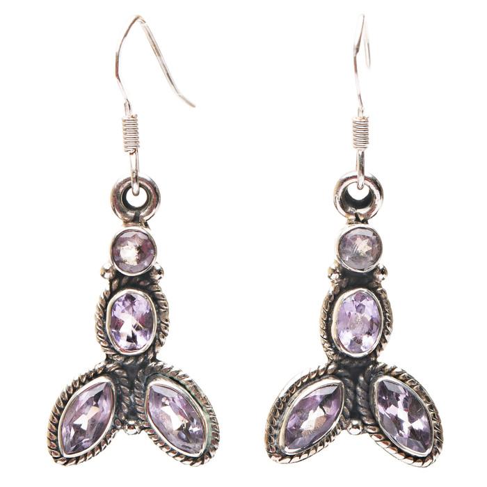 925 Sterling Silver Gemstones Natural Amethyst Dangle Earrings FJSE2182