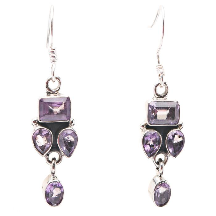 925 Sterling Silver Gemstones Natural Amethyst Dangle Earrings FJSE2184