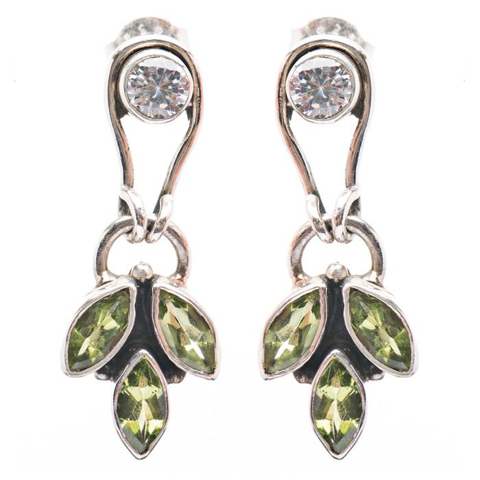 925 Sterling Silver Gemstones Natural Peridot Topaz Dangle Earrings FJSE2191