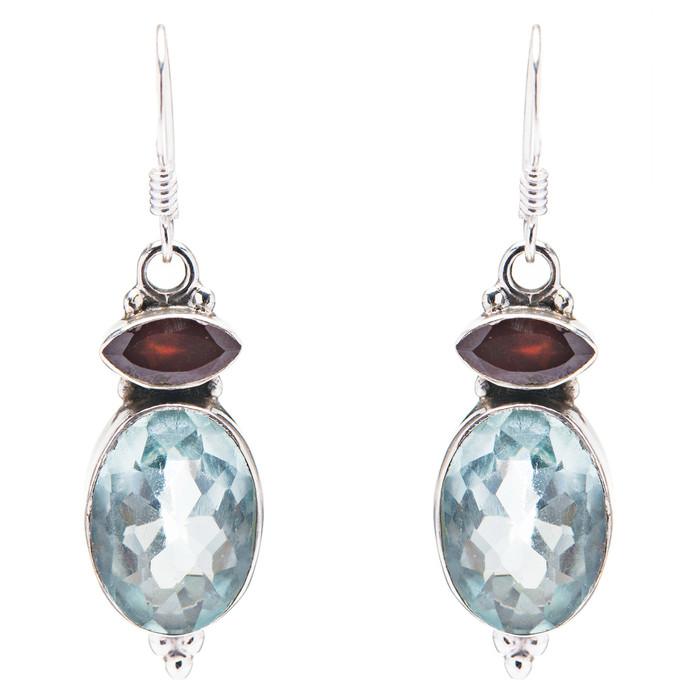 925 Sterling Silver Natural Gemstones Quartz Dangle Earrings FJSVE2097