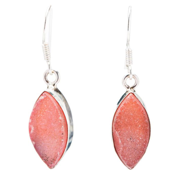 925 Sterling Silver Natural Gemstones Druzy Dangle Earrings FJSVE2110