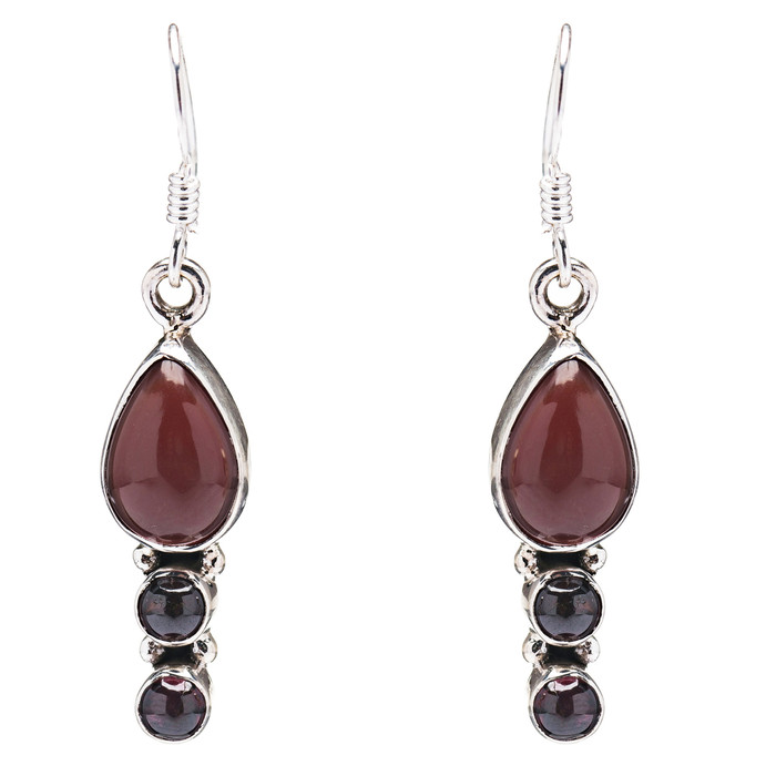 925 Sterling Silver Natural Gemstones Coral Dangle Earrings FJSVE2115