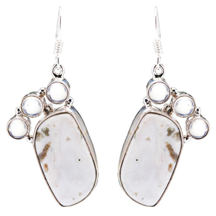 925 Sterling Silver Natural Gemstones Jasper Dangle Earrings FJSVE2126
