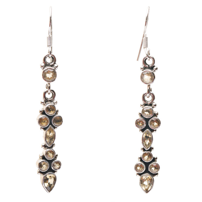 925 Sterling Silver Natural Gemstones Citrine Dangle Earrings FJSVE2149