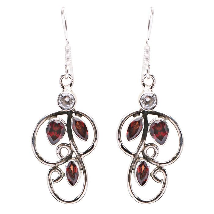 925 Sterling Silver Natural Gemstones Garnet Dangle Earrings FJSVE2154