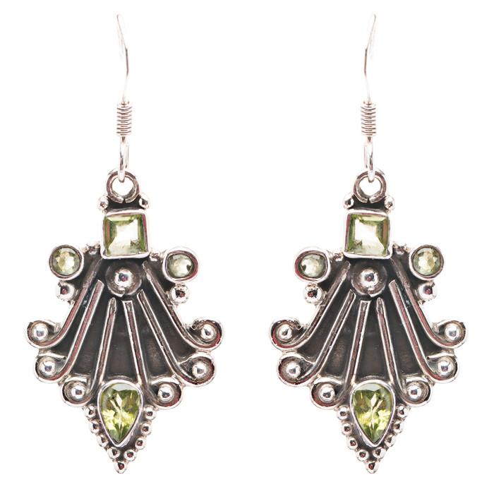 925 Sterling Silver Natural Gemstones Peridot Dangle Earrings FJSVE2160