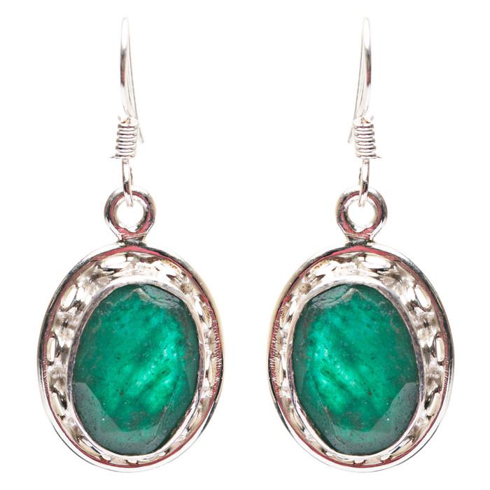 925 Sterling Silver Natural Gemstones Emerald Dangle Earrings FJSVE2172