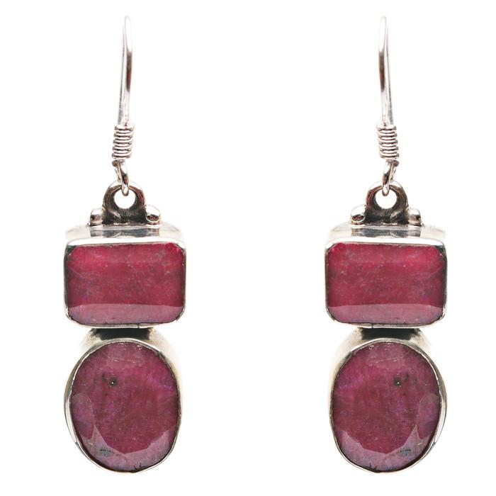 925 Sterling Silver Natural Gemstones Ruby Dangle Earrings FJSVE2180