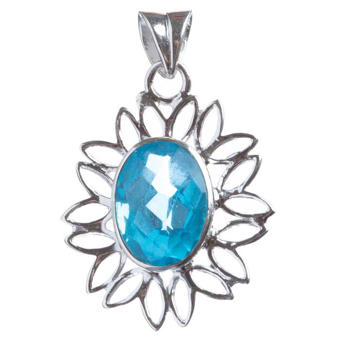 925 Sterling Silver Natural Gemstones Blue Topaz Pendant FJSVP2054