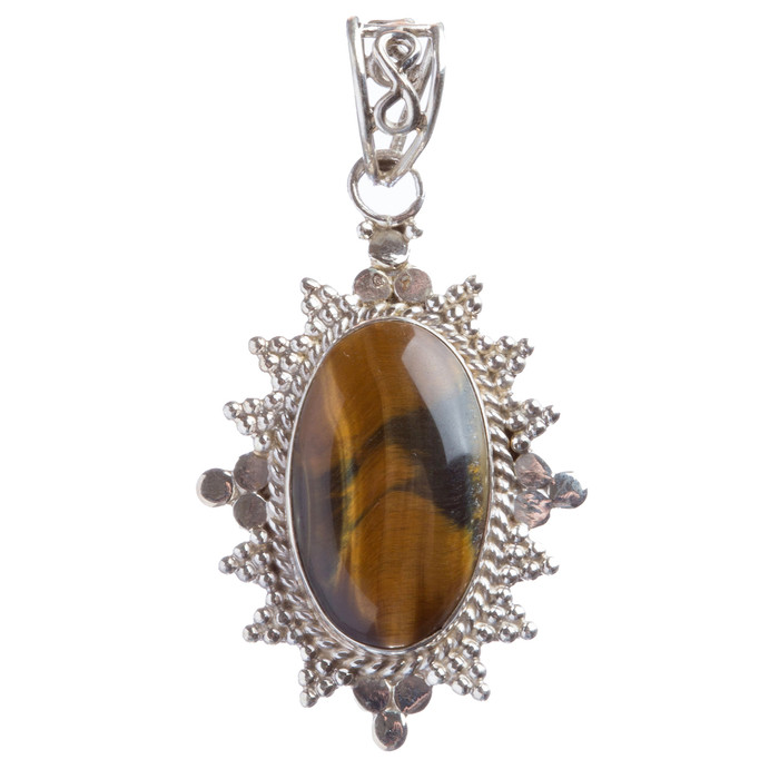 925 Sterling Silver Natural Gemstones Tigers Eye Pendant FJSVP2058
