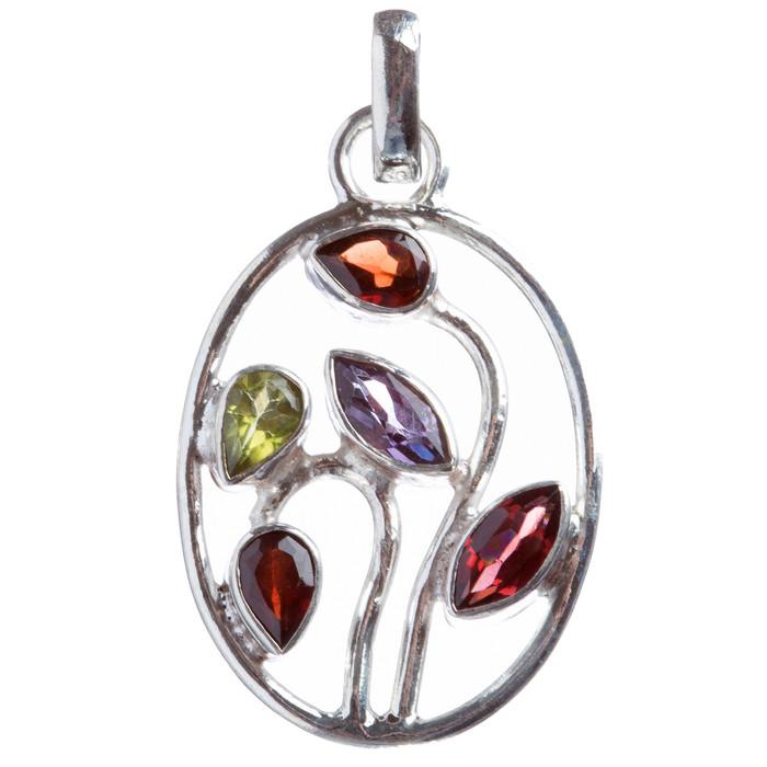 925 Sterling Silver Natural Gemstones Amethyst Peridot Pendant FJSVP2060