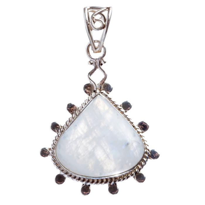 925 Sterling Silver Natural Gemstones Moonstone Pendant FJSVP2062