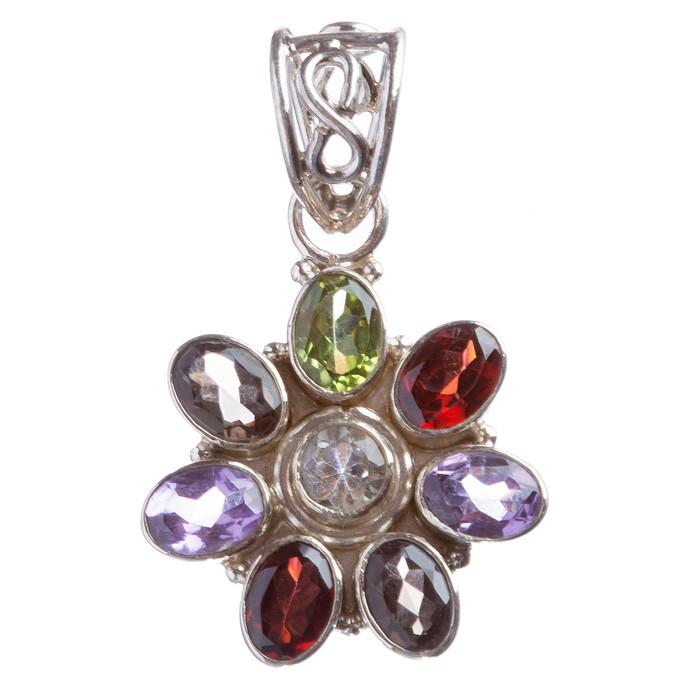 925 Sterling Silver Natural Gemstones Multigem Pendant FJSVP2067
