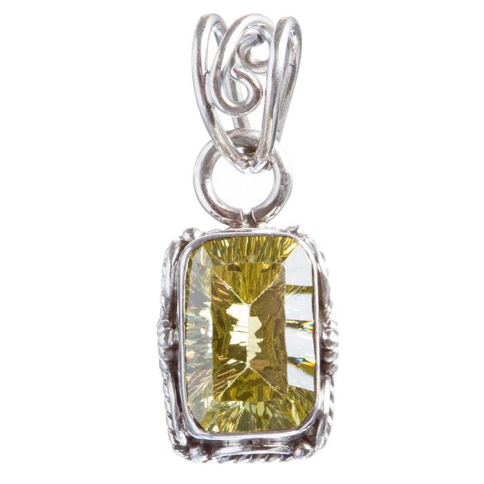 925 Sterling Silver Natural Gemstones Citrine Quartz Pendant FJSVP2085