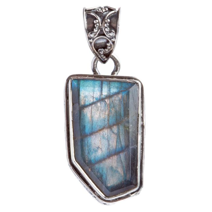 925 Sterling Silver Natural Gemstones Labradorite Pendant FJSVP2106