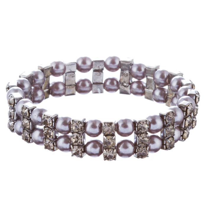 Bridal Wedding Jewelry Charming Pearl Rhinestones Stretch Bracelets B525 Black