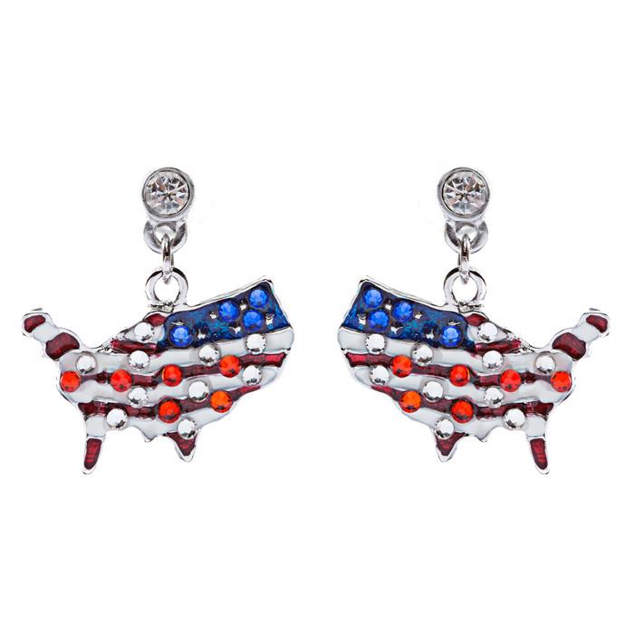 Patriotic Jewelry Crystal Rhinestone American Flag Dangle Earrings E762 Silver