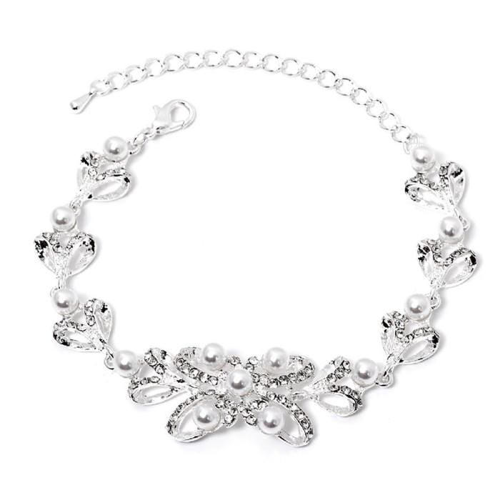 Bridal Wedding Jewelry Prom Fashion Crystal Classic Link Bracelet B531 Silver