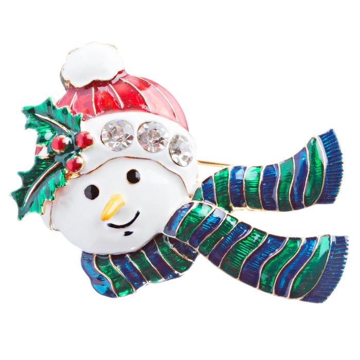 Christmas Jewelry Crystal Rhinestone Holiday Happy Snowman Brooch Pin BH137