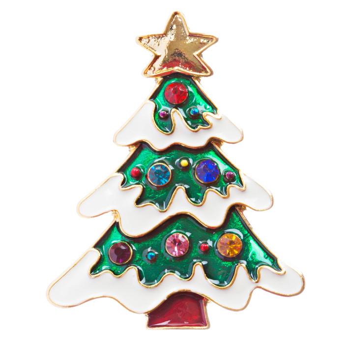 Christmas Jewelry Crystal Rhinestone Holiday Charming Tree Brooch Pin BH138 MT