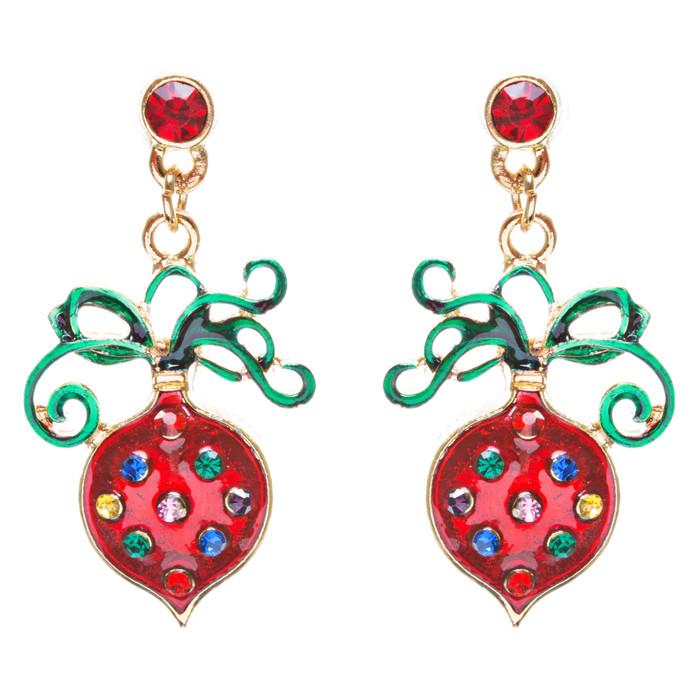 Christmas Jewelry Crystal Rhinestone Dainty Holiday Ornament Earrings E808 Red