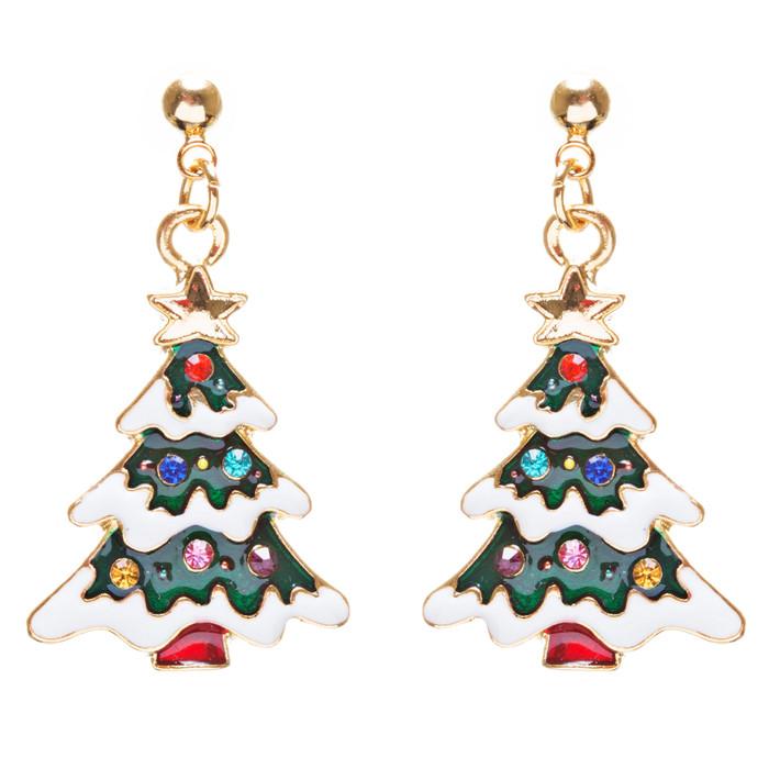 Christmas Jewelry Crystal Rhinestone Lovely Holiday Tree Earrings E903 Multi