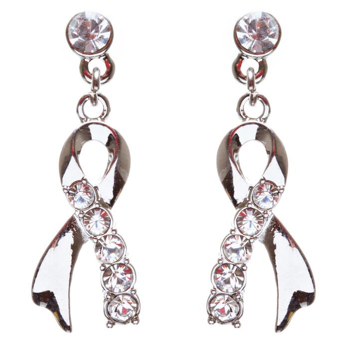 Pink Ribbon Jewelry Crystal Rhinestone Charming Dangle Earrings E904 Silver