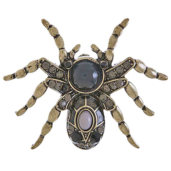 Halloween Costume Jewelry Spider Charm Fashion Brooch Pin BH201 Antique Black