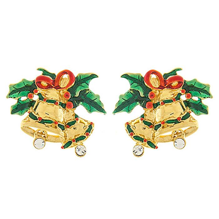 Christmas Jewelry Crystal Rhinestone Jingle Bell Fashion Earrings E1155 Gold