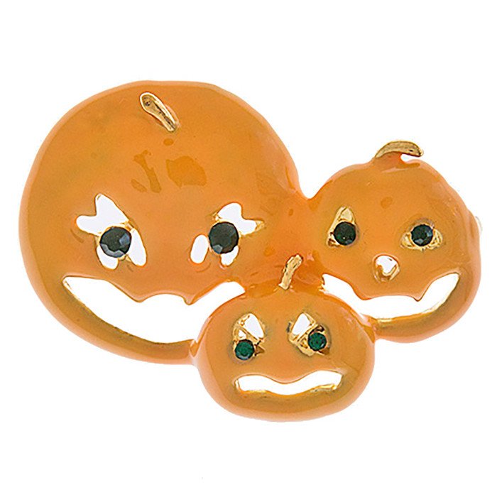 Halloween Costume Jewelry Crystal Rhinestone Three Pumpkin Faces Brooch BH210