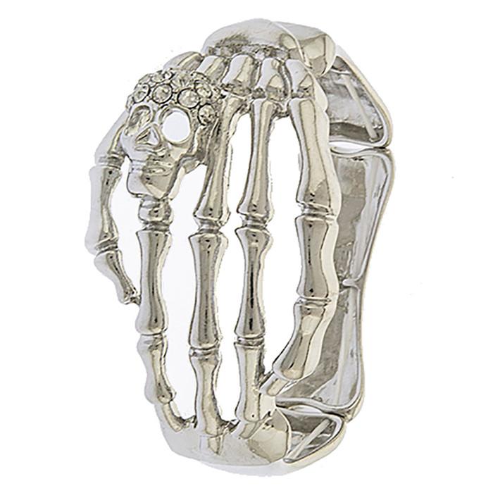 Halloween Costume Jewelry Crystal Rhinestone Skeleton Hand Stretch Bracelet B536