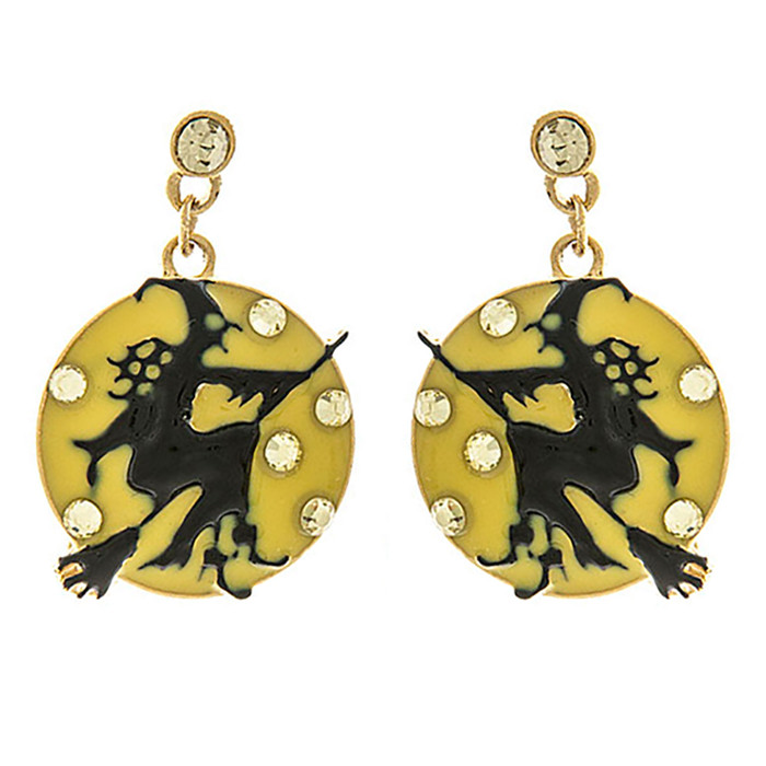 Halloween Costume Jewelry Crystal Rhinestone Witch Moon Earrings E1174 Black