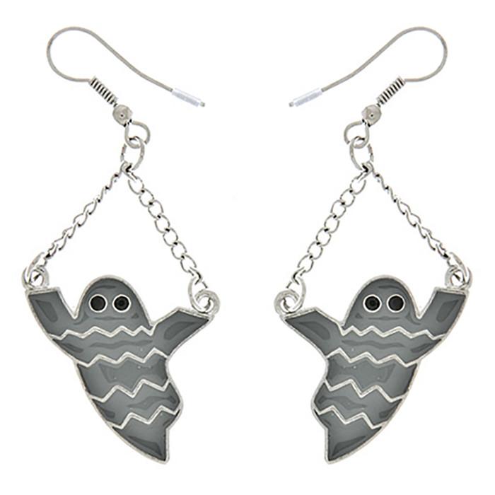 Halloween Costume Jewelry Ghost Charm Dangle Fashion Earrings E1179 Gray