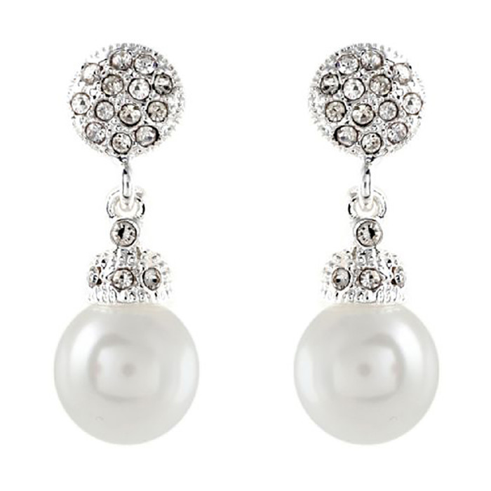 Bridal Wedding Jewelry Crystal Rhinestone Pearl Prom Elegant Earrings E1183 SV