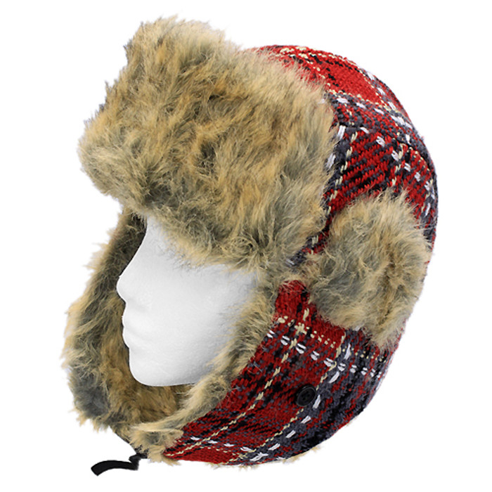 Plaid Design Faux Fur Trooper Aviator Trapper Cold Weather Winter Ski Cap Hat RD