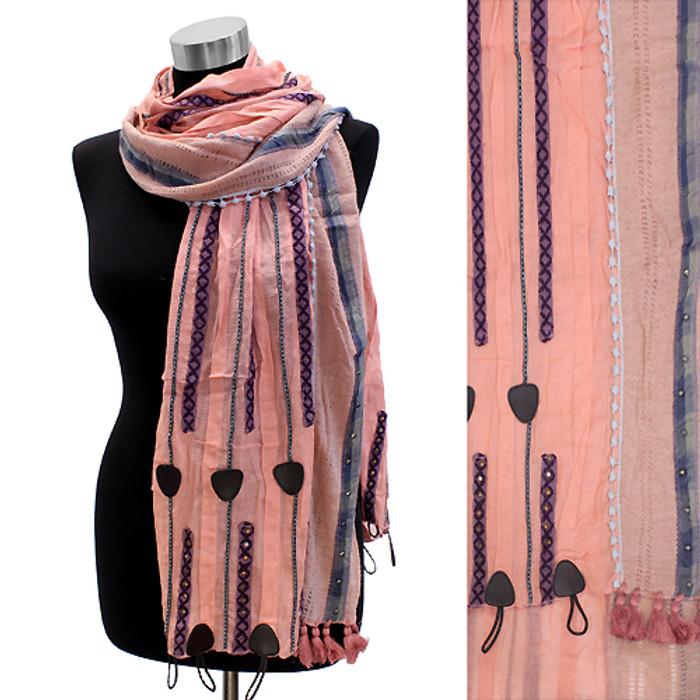 Short Tassel Hand Crafted Fashion Design Scarf Pink