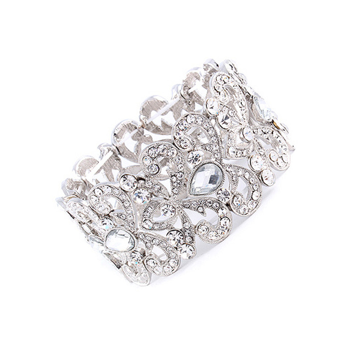Bridal Wedding Jewelry Elegant Teardrop Crystal Rhinestone Stretch Bracelet