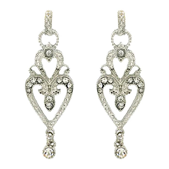 Bridal Wedding Jewelry Crystal Rhinestone Vintage Dangle Charm Earrings Silver